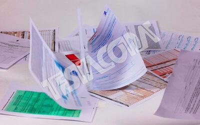 Bureaucratic forms falling down