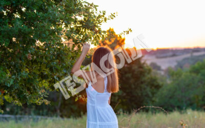 Young Girl in white and the Magic Tree