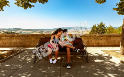Girl and Boy on a bench