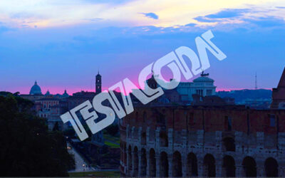 Cloudy Sunset over ancient Rome together with the Forums and the Colosseum