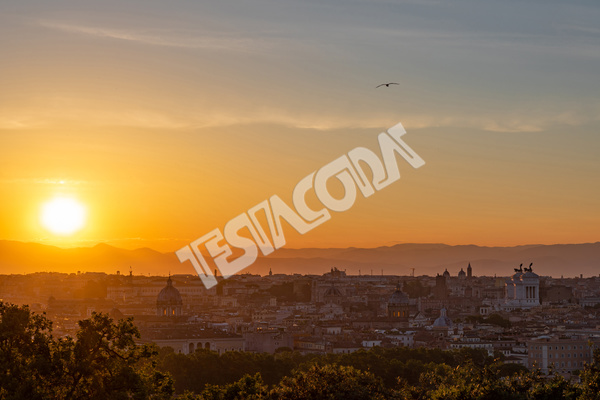 Sunrise on ancient Rome from Gianicolo Terrace, Italy