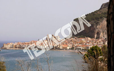 Slight zoom in on the town of Cefalu